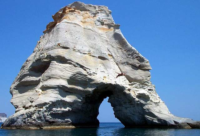 Kleftiko is an impressive spot of rock formations that can be reached only by sea. In fact, many excursion boats make the tour of the island and pass by Kleftiko.